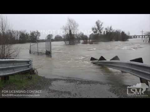 02-20-2017 Sacramento, California Flash Flooding Covers Highway
