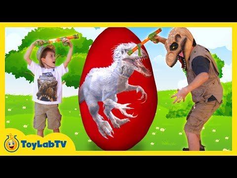 GIANT EGG SURPRISE OPENING Indominus Rex & Biggest Dinosaur Toy Ultra T-Rex Kids Video