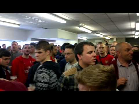 Arsenal fans in the concourse at St James' park Pre match 19/5/13