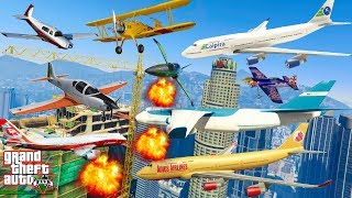GTA V: Every Airplanes VS Crane Best Longer Crash and Fail Compilation (60FPS)