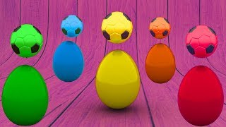Learn Colors With Surprise 3D Eggs Soccer Balls - Learning Educational For Kids