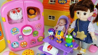 Baby Doll and pororo carrier car toys picnic food play - 토이몽