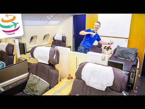 Lufthansa FIRST Class A380 JUST for us   Full Flight Review Flightreport   GlobalTraveler.TV