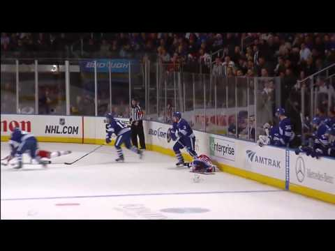 Dion Phaneuf MASSIVE Hit On Mike Sauer - Dec 5th 2011 (HD) (video)
