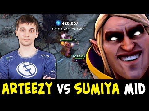 Arteezy vs BEST Invoker Sumiya — BRUTAL mid non-stop ganks