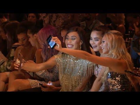 Jordyn Jones, Eva Gutowski, Landry Bender Front Row | Sherri Hill Spring 2018 Fashion Show