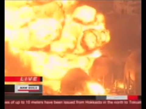 Earthquake, Tsunami Japan, Earthquake- explosion Cosmo oil refinery fire 2011