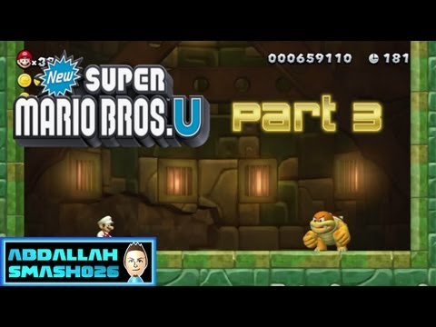 "Let's Play New Super Mario Bros U for WiiU - Part 3: W1-T ""Crushed-Cogs Castle"" 100% with Abdallah"