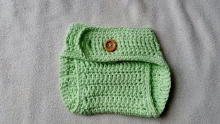 Crochet Diaper Cover for Newborn Babies with subtitles by BerlinCrochet Part 1
