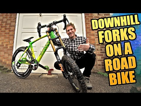 MTB DOWNHILL FORKS ON A ROAD BIKE - DOES IT SHRED?