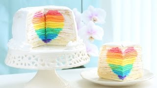 """Eugenie Cake"" Rainbow Heart Surprise Mille Crepe Cake DIY Rainbow Treats"