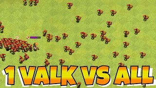 """ALL GOBLINS Vs. VALKYRIE MAX LVL """"Clash Of Clans"""" WITH SPELLS AND SKELETONS!!"""