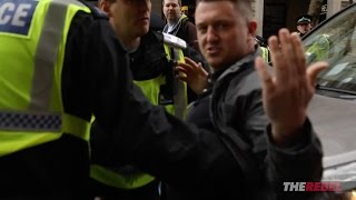 Tommy Robinson attacked by Antifa at Britain First rally