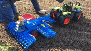 BRUDER Toy TRACTORS and Lemken Solitair 9 Seeder (Unboxing+Action)