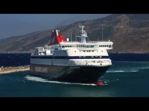 The Greek ferry Nissos Mykonos arrival and departure at Evdilos, Ikaria