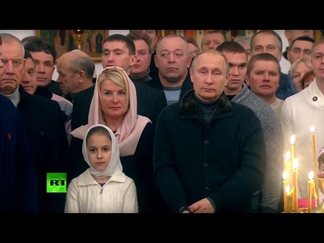Владимир Путин на рождественском богослужении в Великом Новгороде