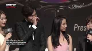 Song Ji Hyo & Lee Kwang Soo @ 2014 MAMA Red Carpet HD