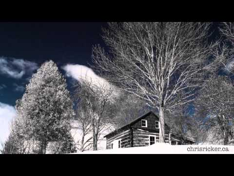 Cabin On The Hill - Black and White - Blue Sky