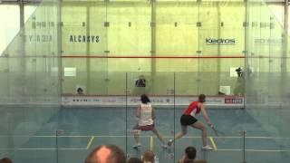 Squash European Individuals Finals: Camille Serme (FRA) vs. Line Hansen (DEN) - game 1