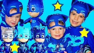 PJ Masks Hide N Seek CATBOY & Gekko Disney Toys in Giant Box Fort!