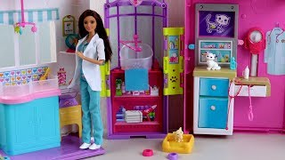 Doll Barbie Pet Care Center - Unboxing Review Animal Hospital Barbie Doctor 2017 New Christmas Toys