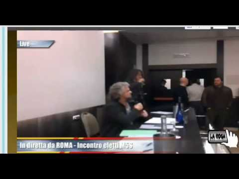 Roma 04 03 2013: i neo-capigruppo #M5S Senato e Camera si presentano in streaming