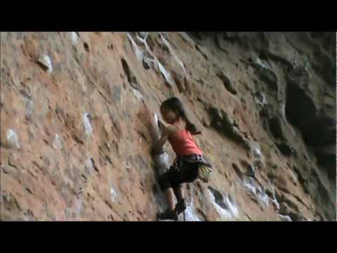 Angie 7 year old rock climber , sent a 21 on lead in Nowra , NSW Australia