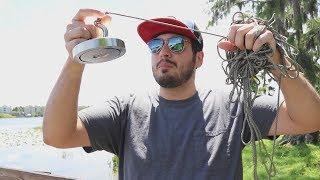 Procurando TESOUROS no Lago com um Imã GIGANTE !! ( PESCA MAGNÉTICA )