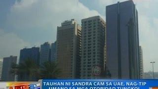 NTG: Tauhan ni Sandra Cam sa UAE, nag-tip umano sa mga otoridad tungkol sa kinaroroonan ni Kerwin
