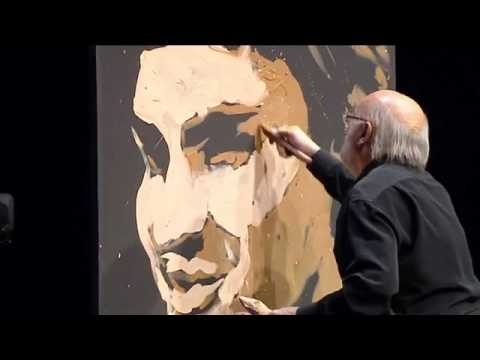 Very impressive in four minutes painter paints Federer