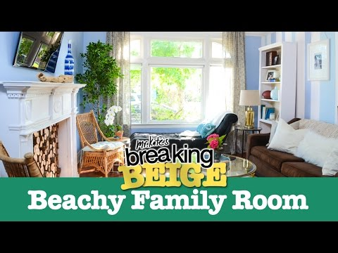 Beautiful Beachy Family Room (PART 2) | Breaking Beige | Before and After | DIY Home Decor | Mr Kate