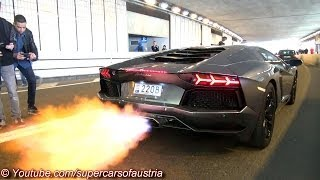 Lamborghini Aventador shooting HUGE FLAMES!