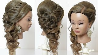 Prom bridal hairstyle for long hair, tutorial with braids and curls