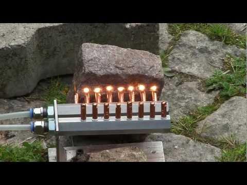 Heizleistung der HHO Düsen an einem Stein - rotglühender Stein - heating a stone with HHO gas