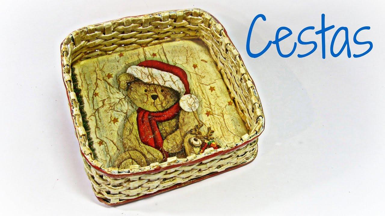 C mo hacer cestas cuadradas de papel news paper baskets - Cestas de periodico ...