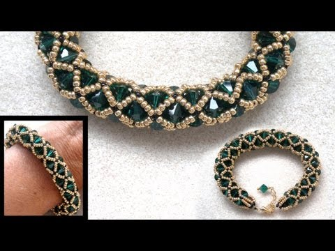 Beading4perfectionists : Netted bracelet with 6mm Swarovsk and seedbeads beading tutorial Music Videos