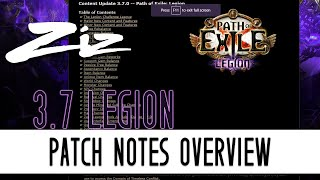 Ziz - Patch Notes Overview - 3.7 Path of Exile Legion