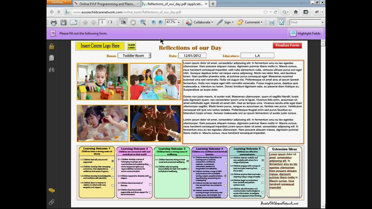 part 8  eylf reflections of our day  sample and completing