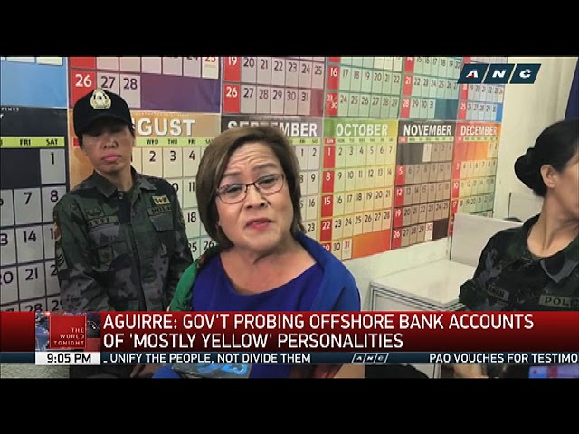 Aguirre: Gov't probing bank accounts of 'mostly yellow' personalities