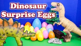 Opening Dinosaur Surprise Eggs with Funny Toys with the Assistant