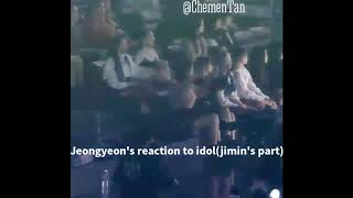 Jimin and Jeongyeon interactions and reactions to each other at MGA 2018