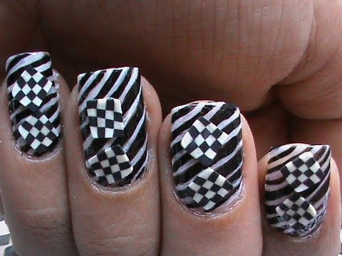 optical illusion nails checks or stripes art  nail