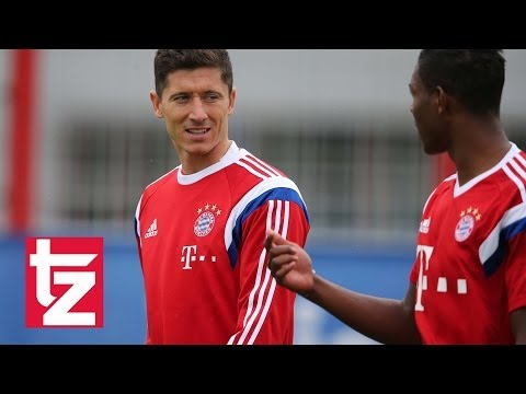 """Robert Lewandowski"": Erstes Training beim FC Bayern - First Training Session Bayern Munich"