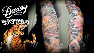 Oriental Fechamento de braço - parte 2 - Danny Tattoo (Oriental Full Sleeve Tattoo part 2)