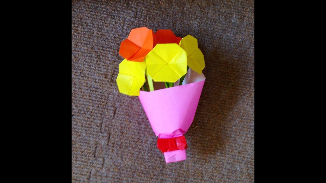 すべての折り紙 折り紙 バラの花束 : 折り紙 花束 ブーケ 折り方 ...