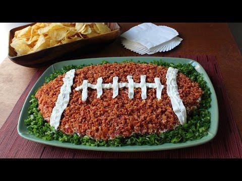 """Loaded Baked Potato"" Dip Football - Super Bowl Dip Recipe"