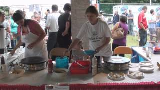 Making of Serbian crepes, Serbian fest Akron OH