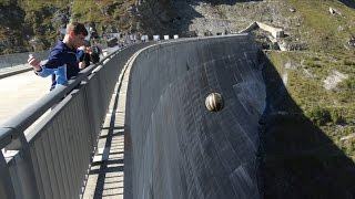Throwing Basketballs With Different Spins Off a HUGE Dam | How Ridiculous