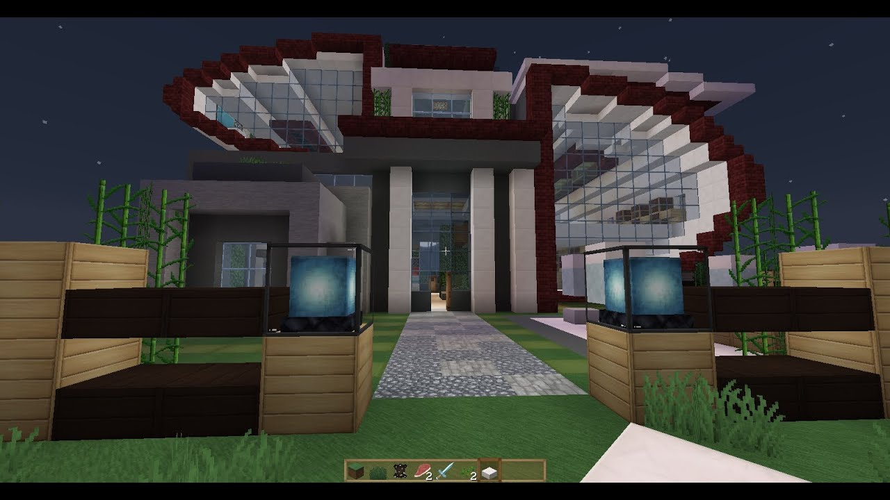 Casa futurista y moderna minecraft youtube for Casa moderna madera minecraft