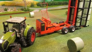 RC TRACTOR with bale loader at work - Rc toy action